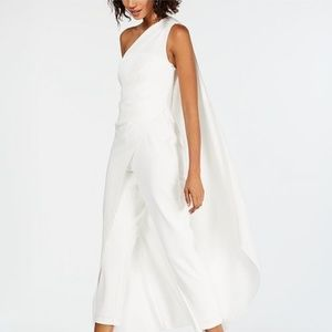 Adrianna Papell One-Shoulder Crepe Jumpsuit Ivory